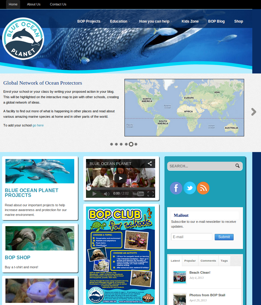 Blue Ocean Planet  Marine education through art and ecology