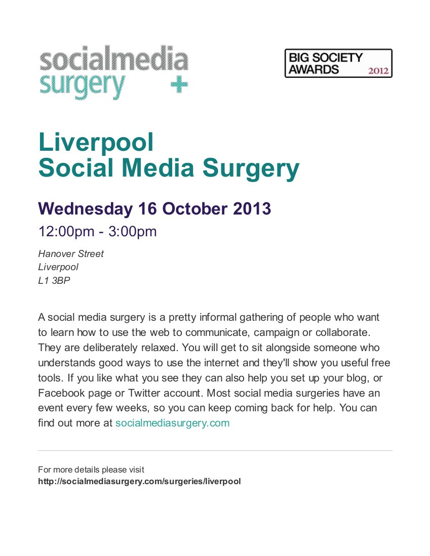 SMS Poster for Liverpool Social Media Surgery on Wed-16-Oct-2013